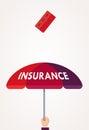 Concept of health insurance. Flat design. Hand holding umbrella over head when brick falls. Creative idea. Vector