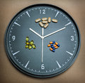 Concept for healthcare and medicine a clock marks the time of taking medicines Stock Photo