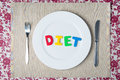 Concept healthy food and diet word on a white plate Stock Images