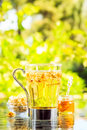 Concept of herbal tea. Camomile tea in a glass mug. Green meadow Royalty Free Stock Photo