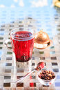 Concept of herbal tea. Hibiscus tea in a glass mug with turkish Royalty Free Stock Photo