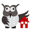 Concept of home insurance with house under owl wing protection llustration Royalty Free Stock Photo