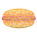 The concept of hot dog with salami and pepperoni in typographic style Stock Photo