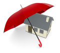 Concept of house protection one under an umbrella security and d render Royalty Free Stock Photos