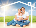Concept housing for young families mother father and child at home Royalty Free Stock Image