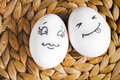 Concept human relationships and emotions eggs - flirtation Royalty Free Stock Photo