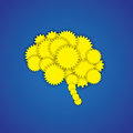 Concept icon of creative brain or mind with gears this yellow blue graphic also represents human efficient functioning Royalty Free Stock Images