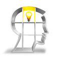 Concept idea thinking head with light bulb Royalty Free Stock Photos