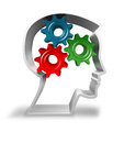 Concept idea thinking head with working gears Royalty Free Stock Photo