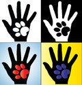 Concept Illustration of Human Hand Silhouette holding a paw of a Dog or a Cat Stock Images