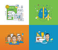 Concept illustration - project management, thinking and learning, teamwork  success. Royalty Free Stock Photo