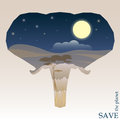 Concept illustration on the theme of protection of nature and animals with night savannah view in silhouette of elephant head for Royalty Free Stock Image