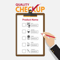 The concept of infographic for product quality on checkup board in flat design.