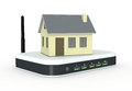Concept of internet one small house on a wifi modem router d render Stock Images