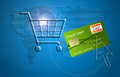 Concept of internet shopping cart with a credit card Royalty Free Stock Images