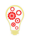 The concept lamp and gear bulb gears team work Royalty Free Stock Photography