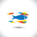 Concept of leadership authority big fish leadin leading small fishes this abstract vector graphic also represents concepts like Royalty Free Stock Photo