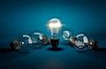 Concept of leadership. Glowing light bulb among dark ones lying Royalty Free Stock Photo
