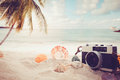 The concept of leisure travel in the summer on a tropical beach seaside Royalty Free Stock Photo