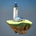 Concept of the lighthouse on the island. 3d render image Royalty Free Stock Photo