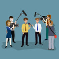 Concept live reports interviews microphones in the hands of journalists news template Royalty Free Stock Images