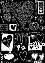 Concept love doodles hand drawn design elements isolated on black Stock Photos