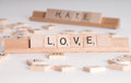 Concept: Love Hate Scrable Letters Stock Image
