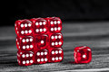 Concept luck - dice gambling on dark wooden background Royalty Free Stock Photo