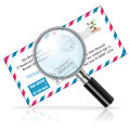 Concept mail magnifier envelope stamp vector icon isolated white background Stock Image