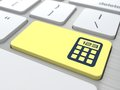 Concept of management calculator on the yellow computer button the Stock Photo