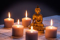Concept of mindfulness and buddhism with Buddha and lighted candles Royalty Free Stock Photo