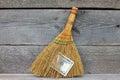 Concept of mismanagement. Broom stuck with dollars