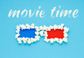 Concept of movie time with 3d glasses of popcorn. Royalty Free Stock Photo