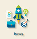 Concept of new business project startup development, flat icons Royalty Free Stock Photo