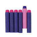 Concept of odd one out in a series blue and pink sponge bullet Royalty Free Stock Image