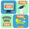 Concept of online education flat design scheme successful Royalty Free Stock Photography