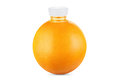 Concept, orange as bottle of fresh juice on white background Royalty Free Stock Photo