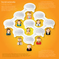 Concept orange background or infographic with oval speech bubble with people conecting template for info Stock Image