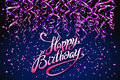 Concept party on dark blue background top view happy birthday pink purple confetti vector - modern flat design style