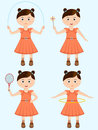 Concept of position character little girl playing different game in standing on skyblue background Stock Images
