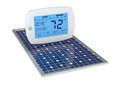 Concept of renewable energy one digital programmable thermostat with a solar panel d render Stock Photography