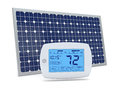 Concept of renewable energy one digital programmable thermostat with a solar panel d render Stock Photo