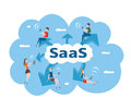 Concept of SaaS, software as a service. Men and women work in the cloud software on computers and mobile devices. Vector
