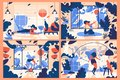 Concept scenes with young woman training at home. Interiors full of leaves and floral elements. Bright flat illustrations for