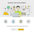 Concept set outline flat design geodesy and development Royalty Free Stock Photo