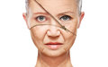 Concept skin aging. anti-aging procedures, rejuvenation, lifting, tightening of facial skin Royalty Free Stock Photo