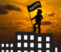 Concept skyline man with success flag standing on the top of bu building business Stock Photo
