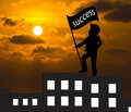 Concept skyline man with success flag standing on the top of bu building business Stock Image