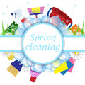 Concept spring cleaning service. Tools for cleanliness