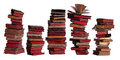 Concept of stacked old books with aged pages on white Stock Photos